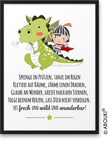 Junge DRACHE Frech Wild Wunderbar ABOUKI® Kunstdruck [ideales Geschenk] - moderne Deko - Design Poster Bild Geschenkidee für Kinder Taufe Geburt Geburtstag Einschulung Kindergarten ungerahmt DIN A4
