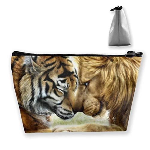 Tiger and Lion Animal Salvaje Pluma de Pared Papelería Estuche Lápiz Bolsa de Maquillaje cosmético Bolsa