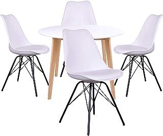 AltoBuy Gram - Ensemble Table Ronde Naturelle et Blanche + 4 Chaises Blanches
