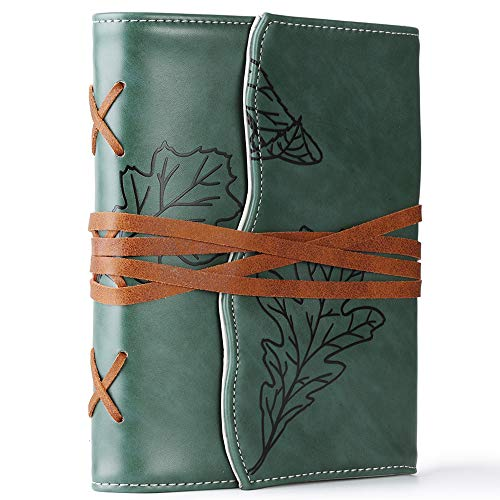 Unique Writing Journal Gifts-Personalized Green Vegan Leather Bound Notebook- Embossed Refillable B6 Lined Writing Diary-Beautiful Daily Use Gifts for Men & Women/Vegetarians/Teen Girls & Boys