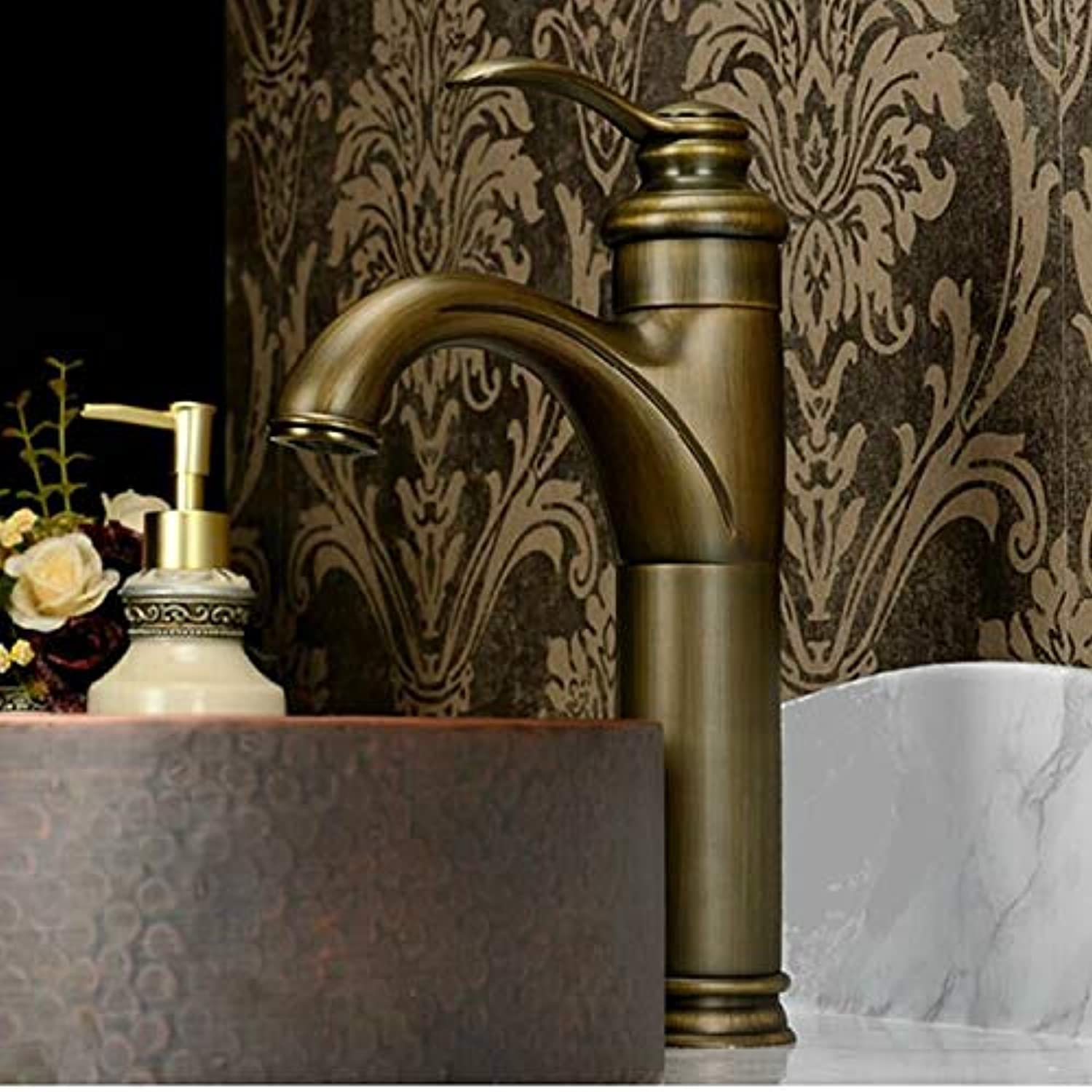 JONTON Taps Taps Taps Copper Hot And Cold Antique Above Counter Basin Faucet European Antique Villa Basin Faucet