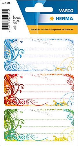 """HERMA 5982 Buchetiketten """"Spirit"""" selbstklebende Heftetiketten mit Motiven für die Schule für Kinder, Mädchen und Jungen, 9 Schuletiketten"""