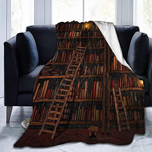 mallcentral-EU Fototapete Bücher mit Treppen Flanell Fleece Decke Wendbar für Couch Schlafsofa Stuhl-Ultra Soft