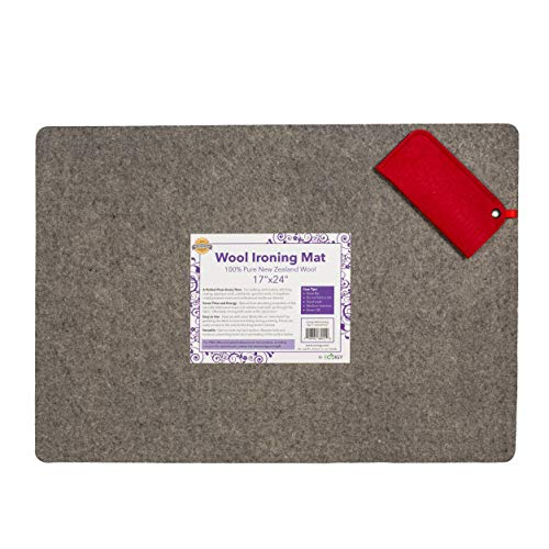 """Ecoigy 17"""" x 24"""" Wool Ironing Pad, 1/2"""" Thick Wool Pressing Mat for Quilting, 100% New Zealand Wool Quilting Mat, Quilting Supplies and Notions, Best Ironing Mat with a Bonus Eyeglasses Case"""