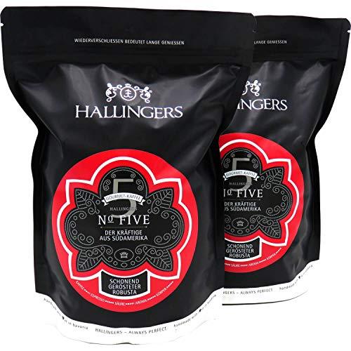 Hallingers Gourmet-Kaffee aus Südamerika & Asien, schonend langzeit-geröstet (1.000g) - No. Five, Set 2x 500g (Aromabeutel) - zu Passt immer