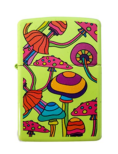 Zippo Custom Lighter - Magic Magical Colorful Mushrooms - Neon Yellow - Gifts for Him, for Her, for Husband, for Wife, for Them, for Men, for Women