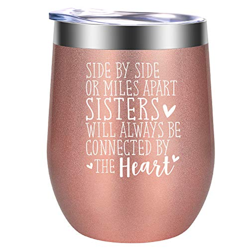 Sisters Gifts from Sister - Christmas Gifts for Sister - Sister Gifts - Funny Long Distance, Birthday Wine Gifts for Sisters, Soul Sister, Little, Big Sister, Sister in Law, Friend - GSPY Wine Tumbler