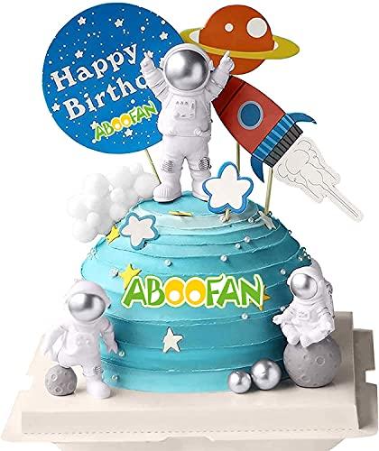 ABOOFAN 3pcs Astronaut Figurines Cake Topper Outer Space Action Figure Statue PVC Spaceman Model Decorative Party Display Miniature Astronaut Toys