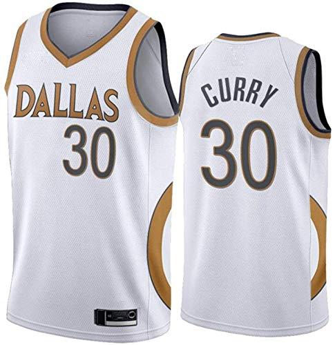ZMIN Menizos de la NBA de los Hombres y la Mujer Mavericks # 30 Curry Baloncesto Entrenamiento Ropa Deportes y Ocio Secado rápido Vestido sin Mangas Transpirable,B,XL 180~185cm