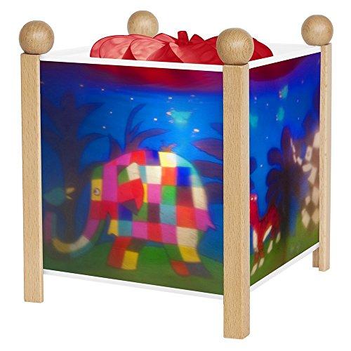 Trousselier - Elmer der Elefant - Nachtlicht - Magische Laterne - Ideales Geburtsgeschenk - Farbe Holz natur - animierte Bilder - beruhigendes Licht - 12V 10W Glühbirne inklusive - EU Stecker