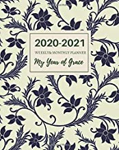 """2020-2021 Weekly&Monthly Planner """"My Year of Grace"""": Daily Inspirational Bible Quotes, July 2020 to December 2021, Calendar views, Schedule Organizer ... Notebook, Vintage Floral Cover, Large Size"""