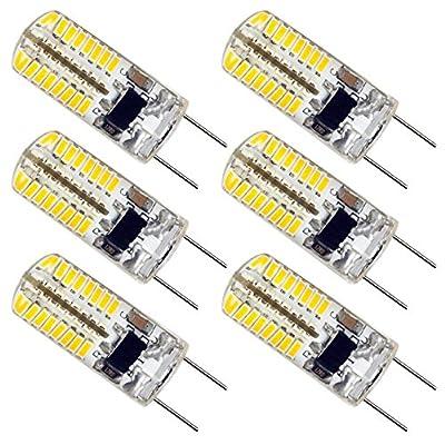 ZEEFO 6 Pack G8 LED Bulbs, Dimmable 110V 2.5W Warm White 3000K, 28 X 3014 SMD Energy Saving Light Bulbs (25W Halogen G8 Light Bulbs Equivalent) for Light Fitting, under center kitchen lighting