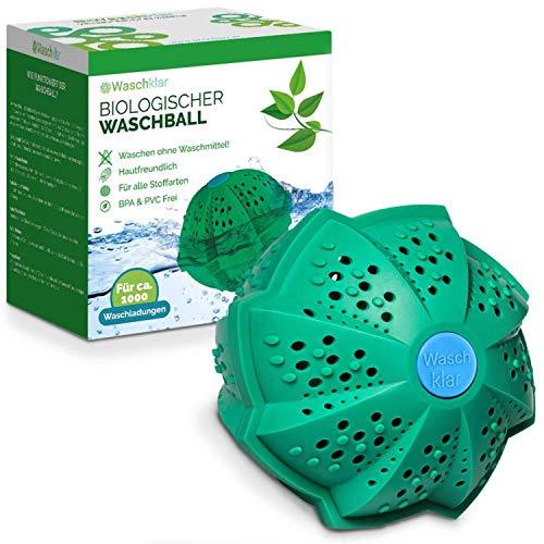 Waschklar® - Bola de lavado ecológica, sin detergente, bola de lavado para lavadora, respetuosa con el medioambiente, sin plástico y de materiales sostenibles, cero residuos