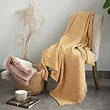 Natural Union Throw Blanket 55% Cotton 45% Hemp Blanket Breathable Reversible Lightweight Farmhouse Blanket for Summer 51'x67'(130x170cm) Yellow
