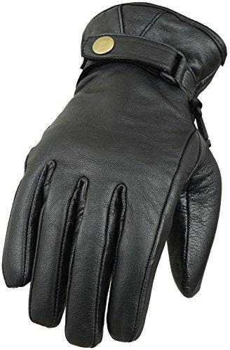 Klassische Motorradhandschuhe aus echtem Leder Gr. 90, Schwarz