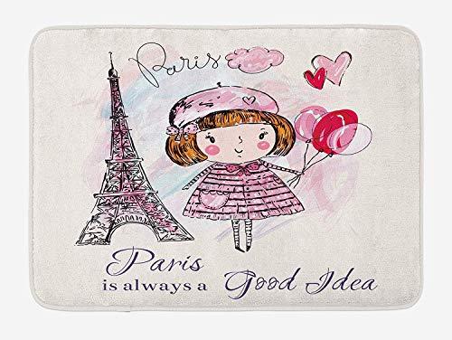 FANCYDAY Paris badmat, klein meisje met ballonnen harten een wolk en Eiffeltoren Illustratie, pluche badkamer Decor Mat, roze paars