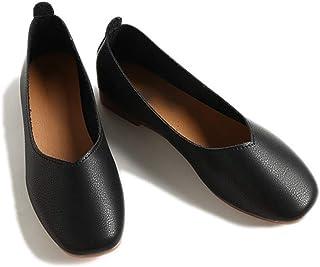 フラットシューズ レディース スリッポン フェイクレザー 黒 ホワイト ローヒール ぺたんこ 痛くない 歩きやすい 疲れない カジュアル シューズ 大きいサイズ パンプス 靴 かわいい レディース靴 カーキ色 [イノヤ]
