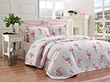 Birds Bedding, Flamingo Birds Themed Full/Queen Size Bedspread/Coverlet Set, Girls Bedding, 3 Pieces, Pink