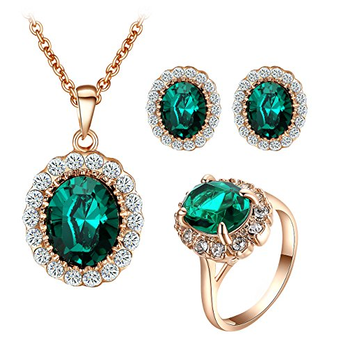 Yoursfs Kate Middleton Jewelry Set Dark Green Crystal Round Cirlce Necklace & Earrings & Rings Set - http://coolthings.us