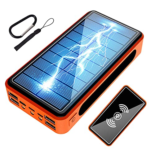 Cargador Solar Portátil 50000mAh, Batería Externa Movil [4 Entradas y 6 Salidas] Power Bank Solar USB C 22.5W Carga Rapida de Gran Capacidad Banco de Energía para iPhone Samsung Huawei Tableta,Naranja