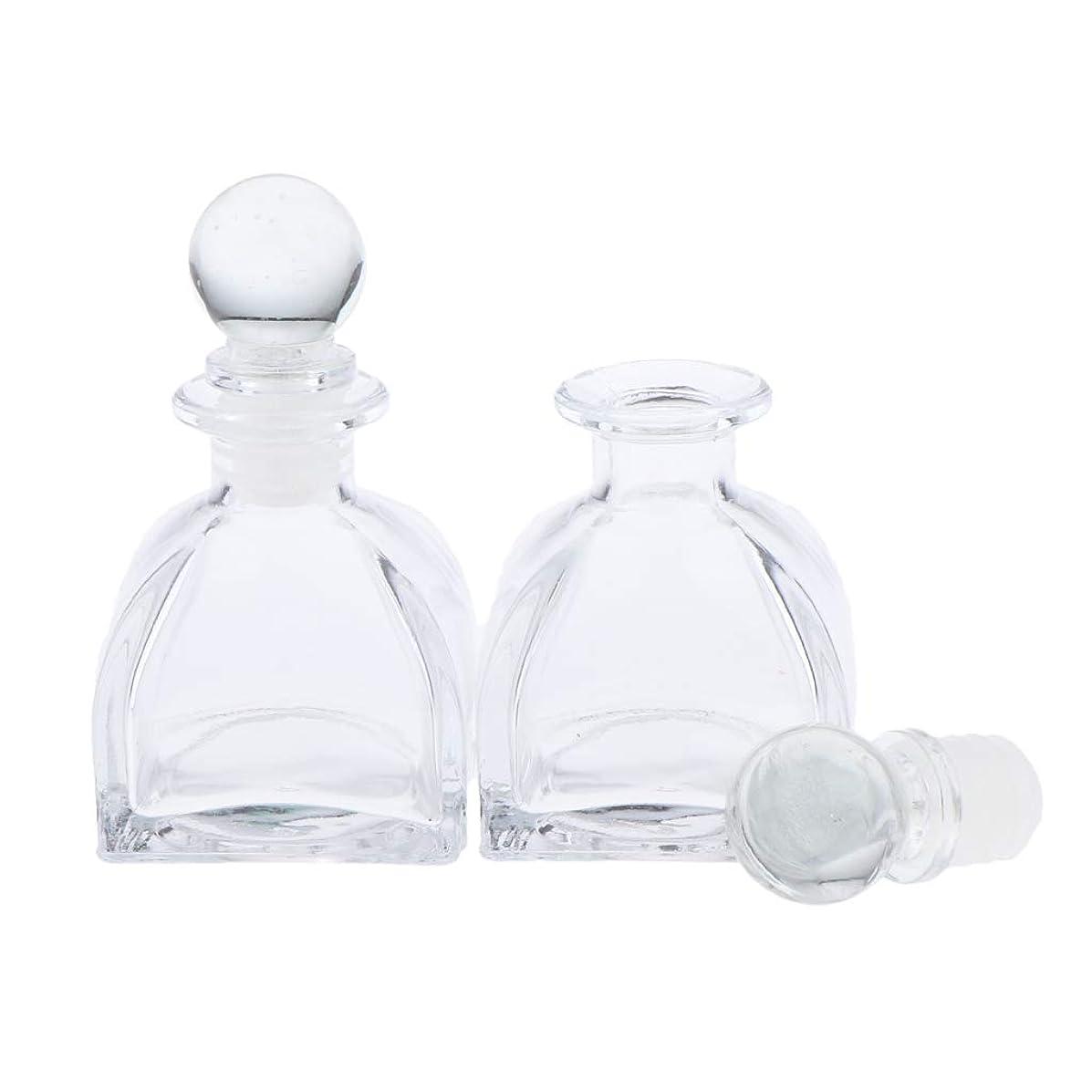 チャンスベテラン雄大なP Prettyia 2個 香水ディフューザーボトル DIY リードエッセンシャルオイル ガラスディフューザー瓶 3サイズ選べ - 50ミリリットル