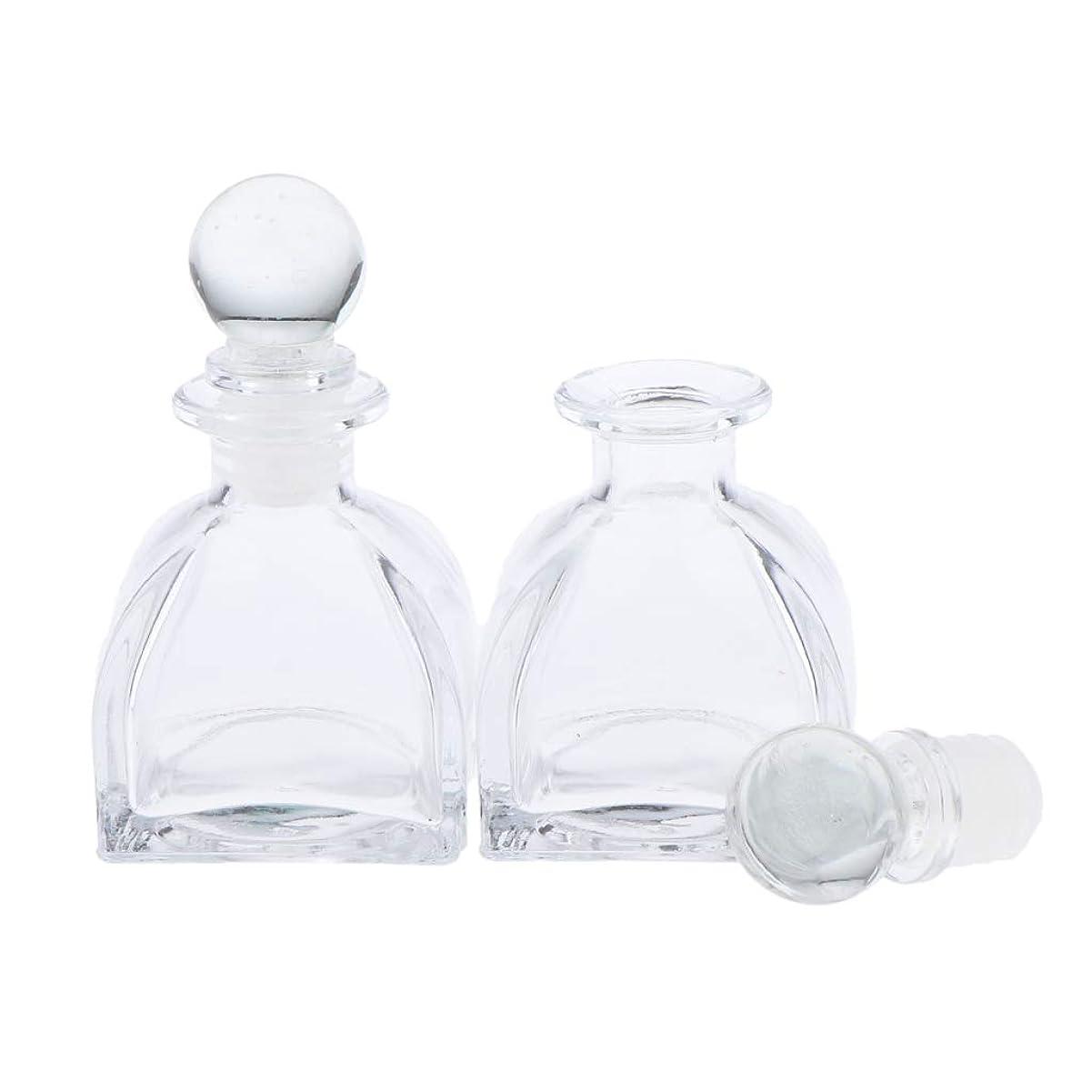 飲み込むヘッジ規範Perfeclan 2個 全3サイズ 香水ディフューザーボトル ガラスボトル 透明 ローション 化粧品適用 DIY 交換 - 50ミリリットル