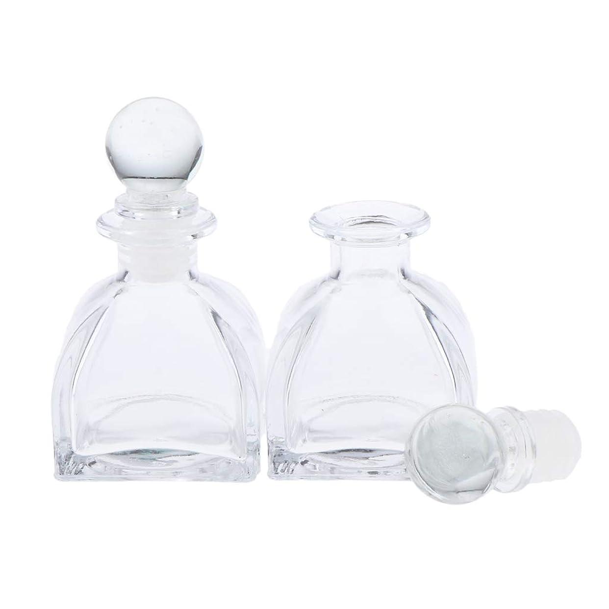 お手伝いさんすすり泣き足P Prettyia 2個 香水ディフューザーボトル DIY リードエッセンシャルオイル ガラスディフューザー瓶 3サイズ選べ - 50ミリリットル