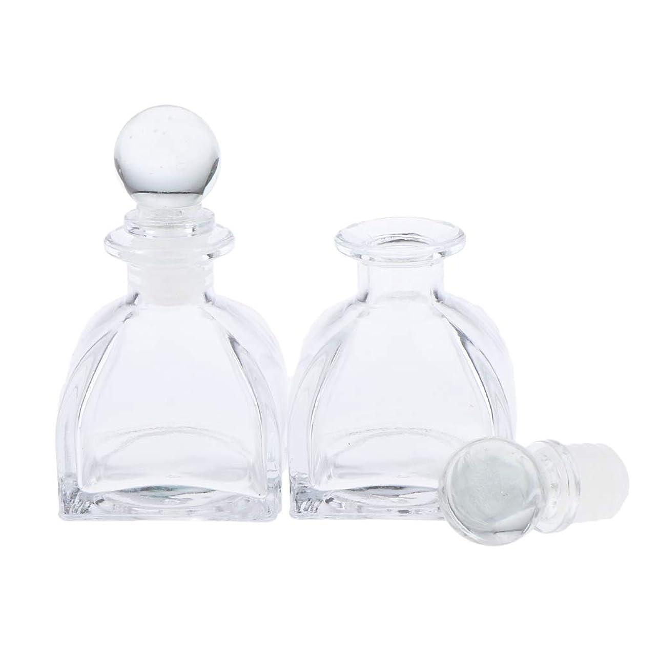 Perfeclan 2個 全3サイズ 香水ディフューザーボトル ガラスボトル 透明 ローション 化粧品適用 DIY 交換 - 50ミリリットル