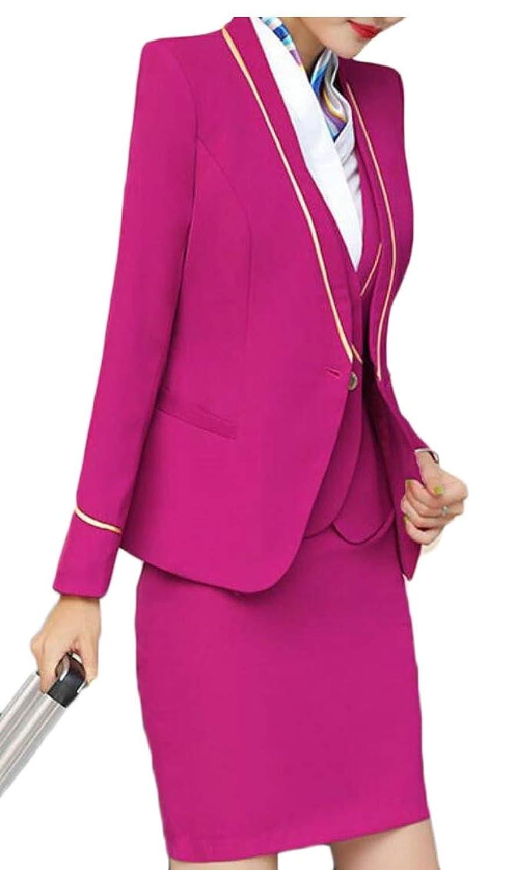 Qiangjinjiu 女性のツーピース長い袖オフィス女性ブレザーとスカートスーツセット