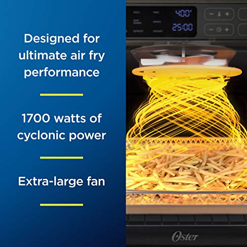 Oster Digital Air Fryer Oven with RapidCrisp, Stainless Steel, 12-Function Countertop Oven with Convection
