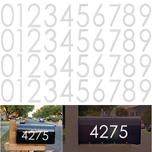 Diggoo 40 Pieces Reflective White Mailbox Numbers Sticker Decal Die Cut Classic Style Vinyl Number 3
