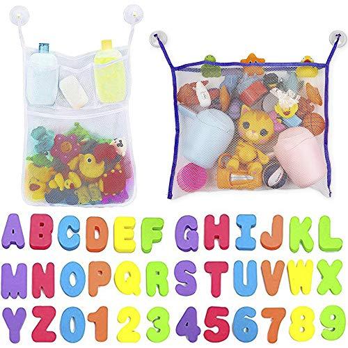 IWILCS 2PCS Bad Spielzeug Organizer, Großes Bad Spielzeug Netz, Badewannen Spielzeug Aufbewahrungsnetz, mit Bade Buchstaben und Zahlen, 4 Saugnäpfen, für Kinder
