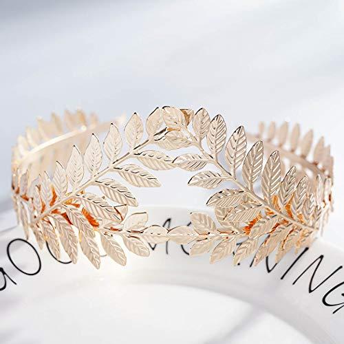 Diadema de novia Zoestar con diseño de corona y tiara con hojas de laurel y flores doradas, accesorios para el pelo de novia para mujer