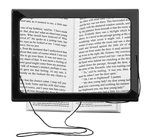 Jinjuntech Reading Magnifying Glass,Full-Page 3× Reading Magnifier with LED Light Illuminated Hands-Free Foldable Desktop Light for Reading Book,Newspaper