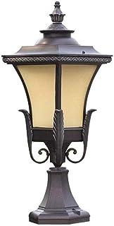 NILINLEI 64cm European Retro Metal Outdoor Column Lamp E27 Antique Aluminum Glass Pillar Light Walled Patio Garden Lawn Li...