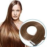 S-noilite Tape Extensions Echthaar Hellbraun #6 Haarverlängerung Remy Echthaar Tape In - 20pcs/30 gramm pro Packung (45cm)
