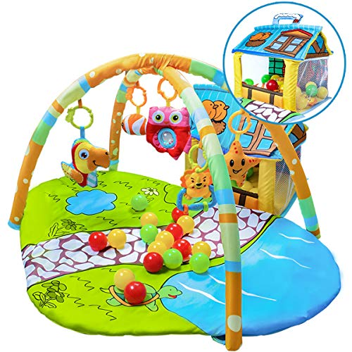 UNIH Baby Gym Play Mat and Ball Pit Infant Tummy Time Thick Playmat Activity Center for Boy and Girl 0-12 Months