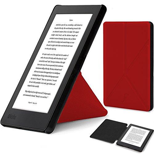 Forefront Cases Funda para Kobo Aura H2O Edition 2 (2017) Origami Funda Carcasa Stand Case Cover - Delgado Ligera, Protección Completa del Dispositivo y Smart Auto Sueño Estela Función - Rojo