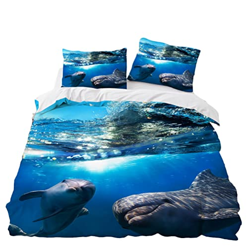 Juego de Cama Animales Marinos 3D Dolphin Blue Tropical Fish Funda Nórdica de Microfibra para Niños Adultos Underwater World Dolphin Funda de Edredón y Funda de Almohada (Azul 6,220 x 240 cm)