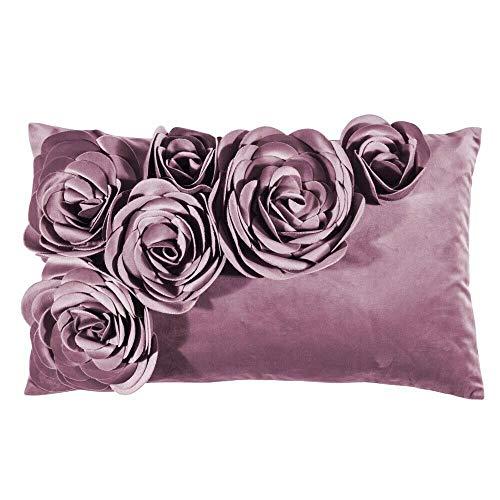 Pad - Floral - Kissenhülle - Samt Kissen - Zierkissen - Kissenhülle - Blütenapplikationen - 30 x 50, Rosa Lilac