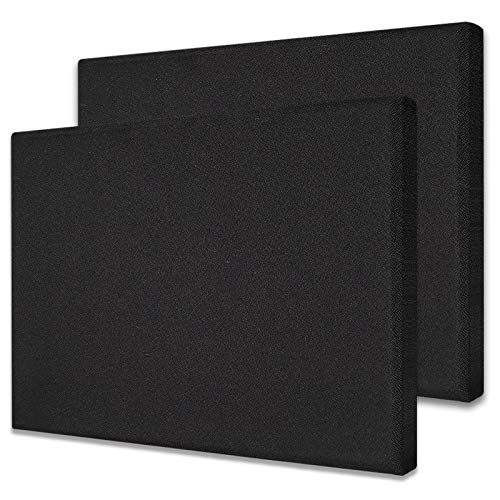 TroyStudio Acoustic Panel - Sound Absorber - Fiber Glass - Multiple Colors & Sizes - 400 X 300 X 28 mm (Pack of 2) (Black)