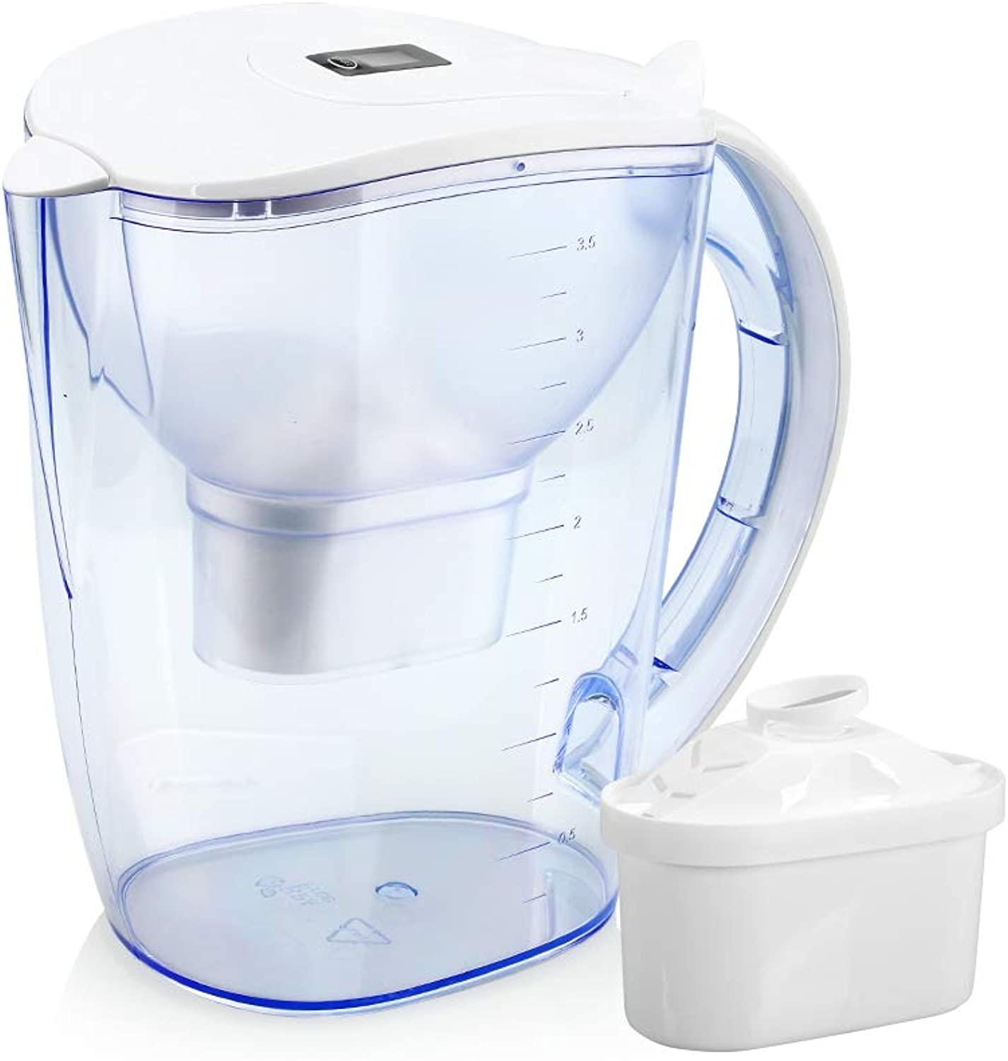 Wellbluee Alkaline Water Filter Pitcher with LED Indicator Plus 2xPremium 6 Stages Filter -3.5L Capacity - Removes Chlorine and Contaminants-Increase pH 9.5+, Make Fresh and Heathy Water Anytime