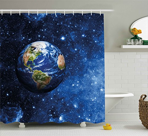 Ambesonne Space Shower Curtain, Outer View of Planet Earth in Solar System with Stars Life on Globe Themed Image, Fabric Bathroom Decor Set with Hooks, 70 Inches, Blue Green