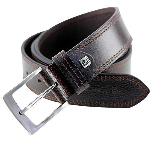 Pierre Cardin Mens leather belt/Mens belt, full grain leather belt XL, black/brown, Größe/Size:130, Farbe/Color:marrone