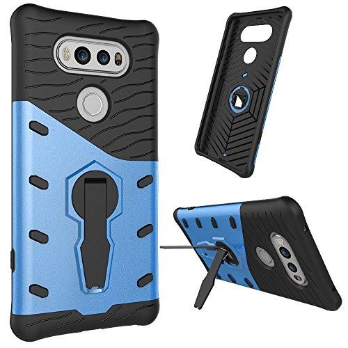 Tasche für LG V20 Hülle, Ycloud flexible TPU innere Schicht + PC harte Schale doppelte schützende Schale 360-Grad-rotierenden Handykasten schützenden Handykasten blau