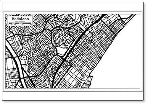 Badalona - Imán para nevera, diseño de mapa de la