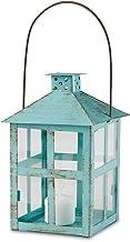 Kate Aspen 14135BL Vintage Blue Distressed Large Rustic Lantern Candle Holder