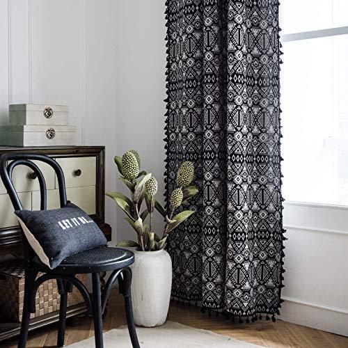 "Lahome Bohemian Geometric Tassel Jacquard Window Curtains - Semi Blackout Cotton Blend Farmhouse Boho Style Drapes Rod Pocket Window Curtain Panel with Tassels for Bedroom (Black, 52"" W x 63"" L Pair)"
