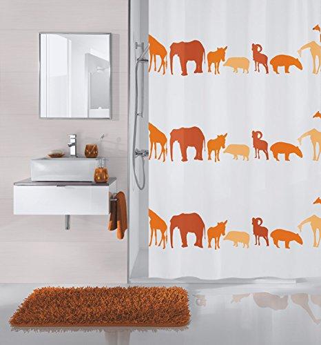 Meusch 2359454305 Duschvorhang Zoo, 180 x 200 cm, Ziegelrot