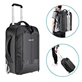 Neewer 2-in-1 Convertible Wheeled Camera Backpack Luggage Trolley Case with Double Bar, Anti-shock Detachable Padded Compartment for SLR/DSLR Cameras, Tripod, Lens and Other Accessories (Black/Green)
